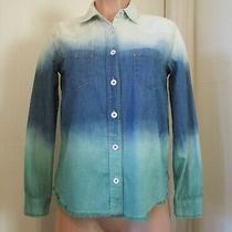 Free People Blue Green Tie-Dye Long Sleeve Denim Blouse Size Xs Photo
