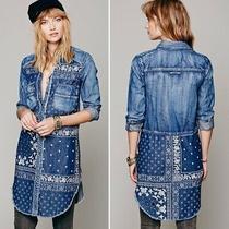 Free People Blue Westward Won Bandana Patchwork Tunic Denim Top Shirt Dress Sz L Photo