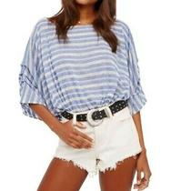 Free People Blue & White Striped Top - Never Worn - Xsmall - Loose Relaxed Fit Photo