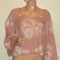 Free People  Blush Comb Floral  Round Neck Pullover Sweater Nwt Sz L Photo
