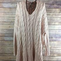 Free People Boho Blush Oversized v-Neck Tunic Sweater Chunky Knit Small Photo