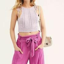 Free People Bombshell Cable Knit Cropped Tank Top. Lilac. Small Photo