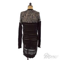 Free People Cardigan Back to You Lace Long Button Black Tunic Top S Mynf B2 Photo