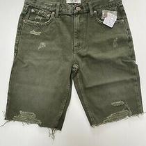 Free People Caroline Long Cut-Off Denim Shorts. Army Green. Waist 27 Inches Photo