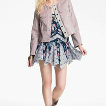 Free People Cropped Blush Distressed Button-Front Military Jacket Nwt Sz M Photo