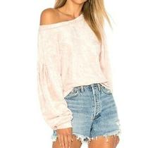 Free People Crushed Velvet Sweater Puff Sleeves Blush Pink Long Sleeve Size S Photo