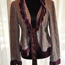 Free People Dark Blush Floral Tie Front Jacket With Velvet Edging Uk 12/14  Photo