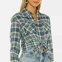 Free People First Bloom Plaid Tie Front Top Chambray Combo Size M Ob1071753 5413 Photo