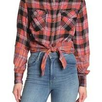 Free People First Bloom Plaid Top Button Down Shirt M Medium Red Photo