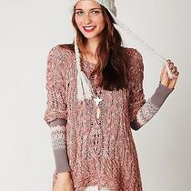 Free People Fluted Cable Knit Pullover New Xs Pink Blush Sweater Tunic Chunky Photo