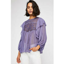 Free People Fp One Camilla Blouse Top Lace Embroidered Ruffle Boho S New 208321 Photo