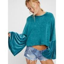 Free People Glorious Bell Sleeves Velvet Pullover Blue Size M Photo