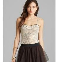 Free People Gray Shellbourne Brocade Corset Top  Photo