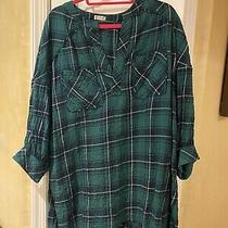 Free People Green Plaid Printed Oversized Not Your Boyfriends Tunic Top - Xs  Photo