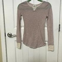 Free People Intimately Long Sleeve Stripe Cream Pink Blush  Sheer Top Sz Pxs Photo