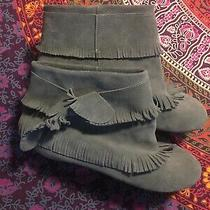 Free People Jeffrey Campbell Gray Suede Moccasins Fringe Prairie Boots 7 Photo