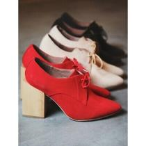 Free People Jeffrey Campbell Size 6 Leather Booties Count Us in Red Block Heel Photo