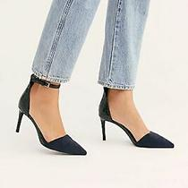 Free People  Jeffrey Campbell Solitaire Heels Blue Suede Size 8 Pointed Toe  Photo