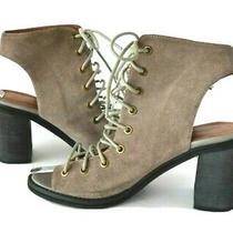 Free People Jeffrey Campbell Sz 9 Gray Minimal Lace Up Peep Toe Sandals Heels Photo