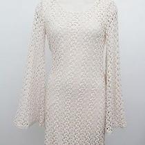 Free People Lace Beige Gypsy 70's Crochet Open Knit Bell Sleeve Mini Dress S/p Photo
