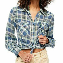 Free People Large First Bloom Plaid Tie Front Button Top Chambray Combo 98 Msrp Photo