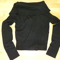 Free People Long Sleeve Wool Blend Black Oversized Cowl Neck Fitted Sweater (M) Photo