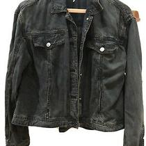 Free People Loose Fitting Denim Jacket Size Xs Blue/black Photo