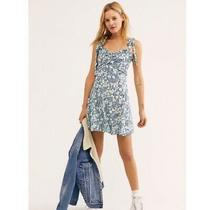 Free People Love Like This Mini Dress. Blue Stripe/floral. Uk 16/ Us 12 Rrp 118 Photo