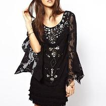 Free People Mother of Pearl Shell Game Stretchy Crochet Shift Dress Blk 250 Nwt Photo