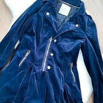 Free People Navy Blue Women's Velvet Military Jacket Button Zip Size 8 Stunning Photo