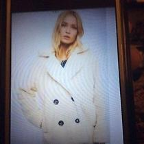 Free People Notched Teddy Peacoat Faux Fur Coat Jacket Oversized Ivory Sz S Used Photo
