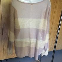 Free People Pink Sweater M  Boat Neckstriped Acrylic Photo