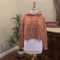Free People Piper Pullover Cropped Hoodie Mango Nwt 128 S Small Photo