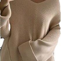 Free People Ribbed v-Neck Cuffed Sleeve Oversized Blush Sweater Size Small Photo