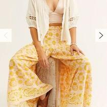 Free People Run River Wide Leg Pant Gold/ivory Boho Tapestry  Nwt 128 Xs 0-2-4 Photo