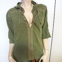 Free People Sage Green 100% Cotton Knit Hoodie v-Neck Pullover Boho Sweater M Photo