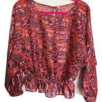 Free People Salmon/blush Floral Print Long Sleeve Blouse S Photo