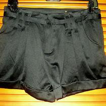 Free People Shorts 2 Sm Black Cuffed Pleated High Waist Shine Satin Look Clasps Photo