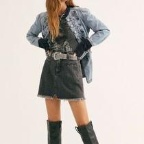 Free People Sidecar Mini Denim Skirt Black Size 25 Photo