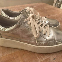 Free People Silver Leather Letterman Sneakers Size 9 Photo