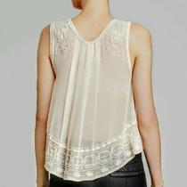 Free People Small Sheer Blush Ivory Beige Sleeveless Tank Top Beaded Boho Perfec Photo