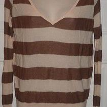 Free People Stripe v-Neck Long Sleeve Sweater Top Blush Metallic Brown Size Xs Photo