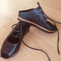 Free People Sz 36 Christie Leather Lace Up Open Toe Flatform Sandals Black Photo