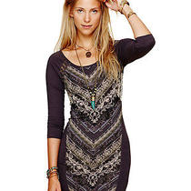 Free People Tapestry Print Bodycon Dress Out of Africa in Charcoal Szl 118 Nwt Photo