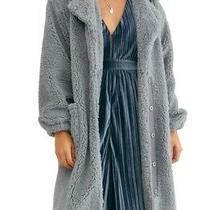 Free People Tessa Teddy Coat Size M Dusty Blue (129) Photo