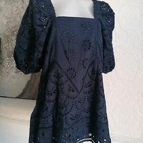 Free People Urban Outfitters Broderie Anglaise Dress Navy Milkmaid Size 10 New  Photo