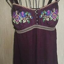 Free People Vest Strappy Top. Deep Purple Embroidered. Size M. Stunning Photo