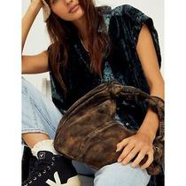 Free People Wilde Suede Clutch Army Green 100% Leather Slouchy Hobo Nwot Photo