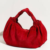 Free People Wilde Suede Clutch Red Top Handles Slouchy Design Nwot Photo