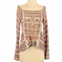 Free People Women Brown Silk Pullover Sweater S Photo